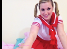Horny school girl strips sucks spanks fingers uses vibrator and orgasms